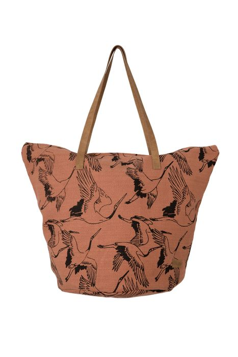 Zusss shopper canvas vliegende vogels brique