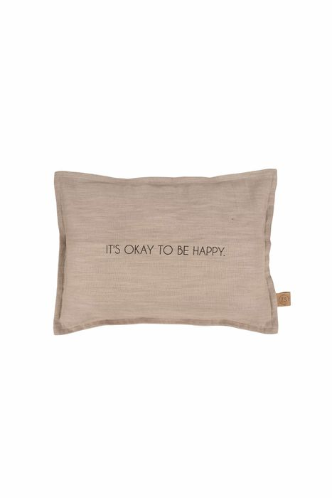 Zusss kussen it's oke to be happy 35x25cm taupe